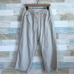Jones New York Linen Wide Leg Crop Pants Beige